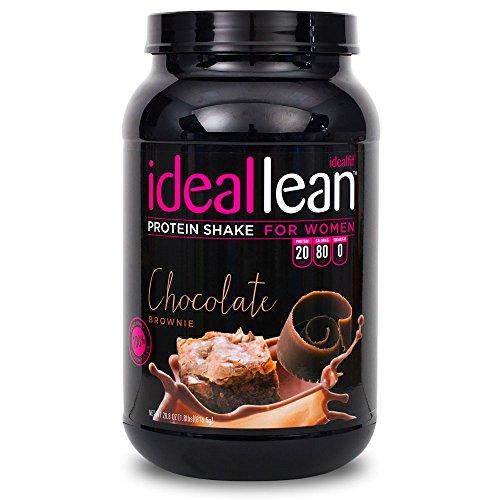 El batido de proteína de la mujer IdealLean (Brownie de Chocolate) por IdealFit * el mejor polvo de la proteína para mujeres * 20g Whey proteína aislado, calcio, ácido fólico. Azúcar 0g, grasas 0g. IdealShape. 30 porciones