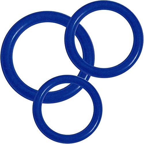 Cockrings de silicona Premium - conjunto de 3 anillos (anillos de Control de erección 3 de diferentes tamaños), azul