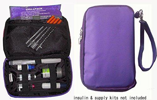 Bolsa nevera organizador diabética-insulina, pruebas suministros - púrpura (1 x paquete de hielo)