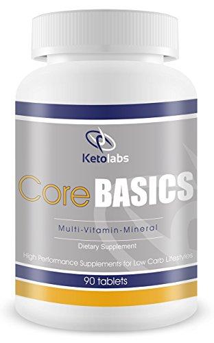 Diario suplemento multivitamínico Mineral con complejo probiótico. Ketolabs núcleo básico es Ideal para hombres y mujeres en dieta baja en carbohidratos dietas como la Atkins, dieta cetogénica, Paleo y otras dietas de pérdida de peso. 90 tabletas.