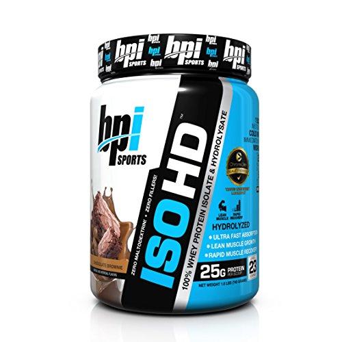 BPI Sports ISO aislado de proteína de suero de HD e hidrolizado, Brownie de Chocolate, 1,6 libras