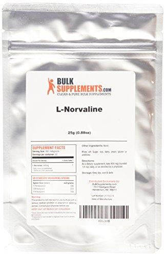 BulkSupplements polvo puro de L-Norvaline (25 gramos)