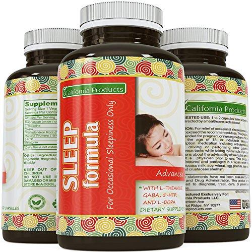 Natural pastillas para dormir para mujeres y hombres - ayuda adicional de la fuerza de un sueño profundo - médico recomienda Mg por dosis - puro L teanina + Mucuna Pruriens, Gaba y melatonina fórmula - Estados Unidos de productos California