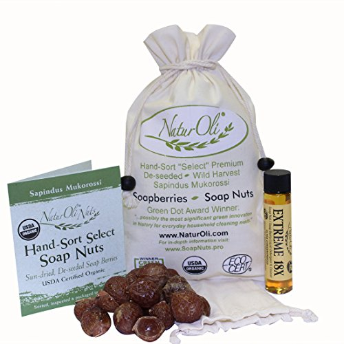 NaturOli nueces de jabón / jabón de frutas 1/2-Lb USDA ORGANIC (cargas de 120) + bono X 18! (12 cargas) Seleccione sin semillas. Información de lavar el bolso, bolso de mano, 8-pg. Jabón para la ropa orgánica natural limpiador. Procesado en Estados Unidos