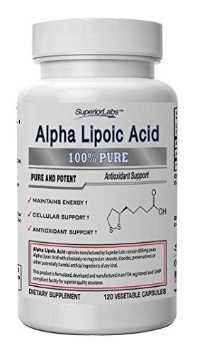 #1 alfa lipoico - potente 600mg, 120 cápsulas vegetales - Made In USA, 100% garantía de devolución de dinero
