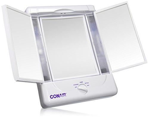 Illumina Conair colección dos lados iluminado maquillaje espejo con 3 paneles y configuraciones de luz 4