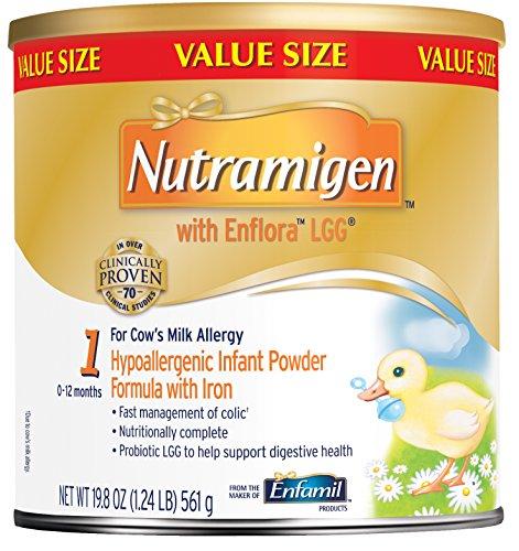 Nutramigen con Enflora LGG leche maternizada - 19,8 oz polvo puede (paquete de 4)