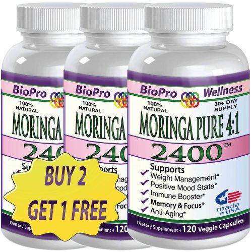 2 + 1 gratis puro Moringa Oleifera, 2400mg al día, #1 foco cerebral humor memoria súper Plus defensa refuerzo inmunitario - saludable cerebro Anti envejecimiento todo Super alimentos suplementos alimenticios para adultos mayores, adultos, adolescentes y n
