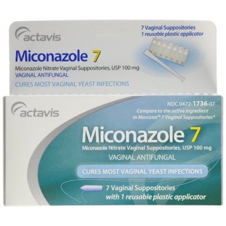 Miconazol 7 Día 100 mg de supositorios vaginales Antifugal 7ct