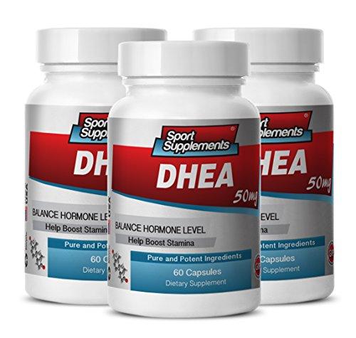 DHEA en polvo puro - DHEA 50mg - suplemento de DHEA pura para rejuvenecer el sistema inmunológico y aumento de testosterona (3 botellas 180 cápsulas)