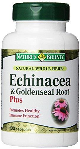 Recompensa Natural hierba entera Echinacea Goldenseal de la naturaleza Plus, paquete de 100 cápsulas de 3