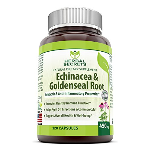 Secretos herbales Echinacea y Goldenseal Root-raíz - 450 Mg 250 Caps con Echinacea Purpurea, Goldenseal, Bardana raíz y pimienta de Cayena - apoya la función inmune saludable y el bienestar general