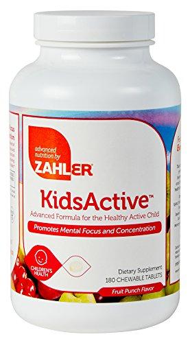 Zahler KidsActive, concentración masticable fórmula, todos hijos naturales suplemento apoyo enfoque y atención, certificado Kosher, sacador de 180 fruta tabletas con sabor a
