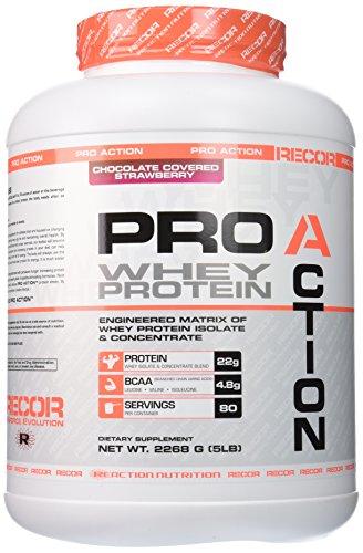 Proteína de acción reacción nutrición Pro Recor, Chocolate cubierto de fresa, 5 libras
