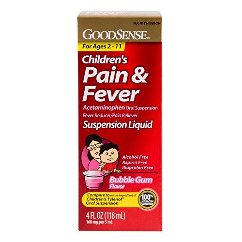 Dolor analgésico suspensión Oral líquido GoodSense acetaminofén infantil, sabor chicle, 160 mg, 4 onzas de líquido