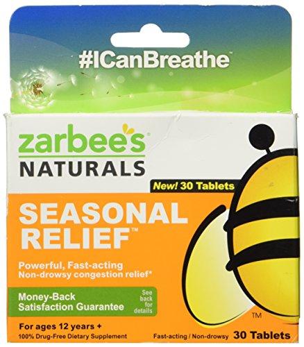 Naturals alivio estacional de Zarbee:: alivio sin somnolencia congestión:: 30 pastillas cada uno