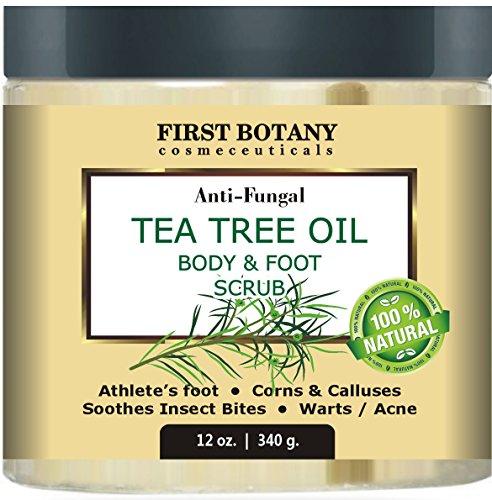 100% natural Anti hongos té árbol aceite cuerpo y pies exfoliante 12 oz con sal del mar muerto - mejor para el acné, caspa y verrugas, pie de ayuda con callos, callos, atleta, sarna y olor corporal