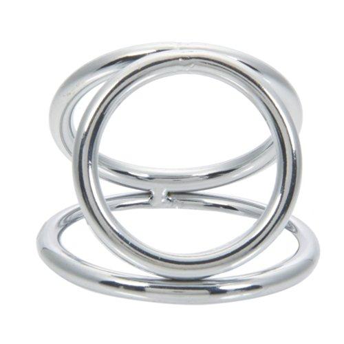 K loco y una tríada de acero inoxidable de Triple pene cámara polla anillo plata (L)