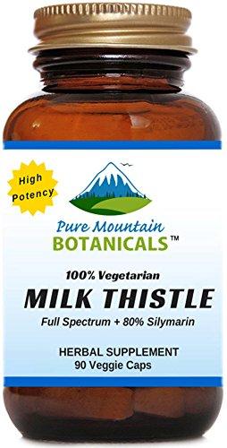 Cardo de leche de alta potencia. 90 cápsulas vegetales kosher. Extracto y semillas de cardo de leche orgánica de 450 mg