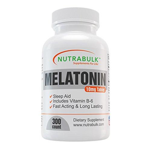 NutraBulk melatonina - vitamina - suplemento - ayuda para dormir - inicio rápido, sostenido sueño - tabletas de 10mg - 300 hilos - 10mg