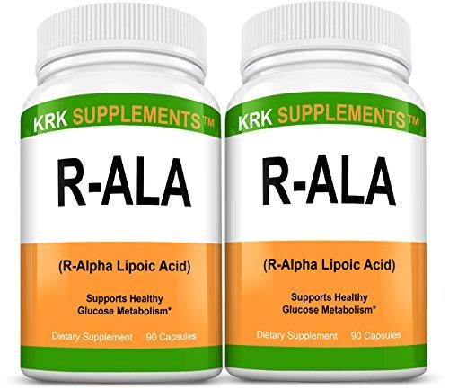 2 botellas R ALA R-alfa lipoico 200mg 180 cápsulas Total KRK suplementos