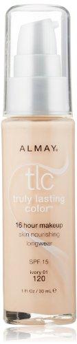 Almay TLC verdaderamente duradero Color maquillaje, 120 marfil, botella de 1 onza