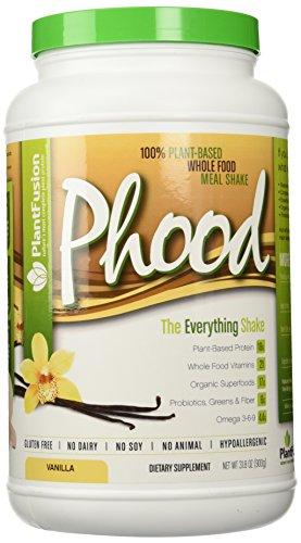 Planta base comida completa reemplazo libre de Gluten, sin lácteos, No Soy, No Animal, hipoalergénico Phood 2 lb vainilla (20 porciones)