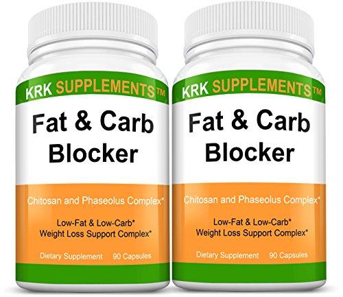 2 botellas de grasa y carbohidratos bloqueador con Phaseolus Vulgaris (Extracto de la haba de riñón blanca) quitosano extrema dieta pastillas peso pérdida 180 Total cápsulas suplementos de KRK