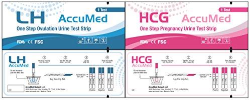 AccuMed® Combo 50 ovulación (LH) y la 25 embarazo (HCG) Kit de tiras, resultados claros y precisos, aprobado por la FDA y más del 99% de la prueba exacta