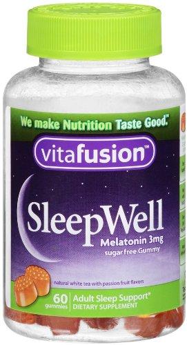 Vitafusion dormir bien gomoso dormir ayuda, 3 mg de melatonina, cuenta 60 (paquete de 2)