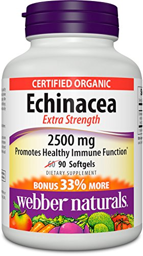 Webber Naturals equinácea Extra fuerza 2500 mg, cuenta 60