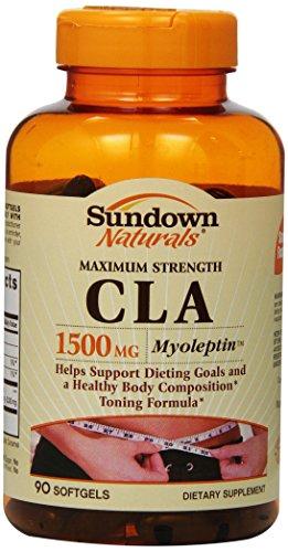 Sundown Naturals fuerza máxima Cla Softgels, 1500 mg, cuenta 90