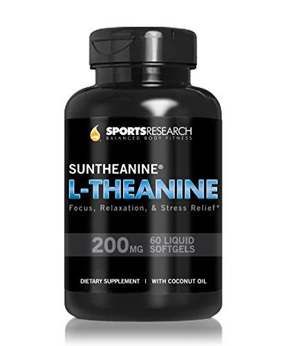 Fuerza doble de 200mg de L-teanina de Suntheanine ®; Potenciado con aceite de coco orgánico para una mejor absorción; Soporta Stress Relief, Focus, relajación y calidad del sueño; 60 cápsulas líquidas