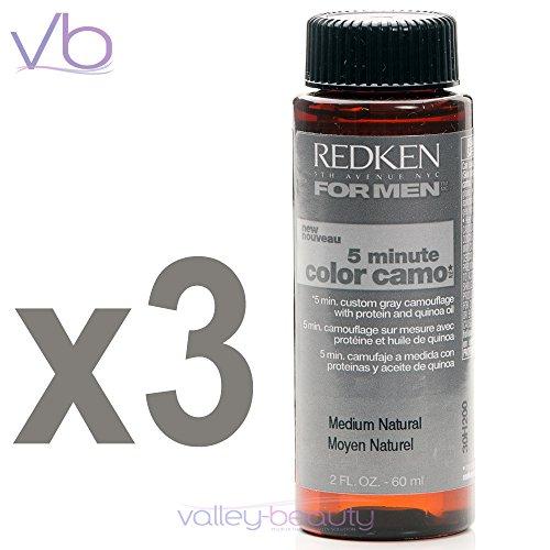 Redken para hombres 5 minutos Color Camo - Medio Natural 3 botellas 2oz