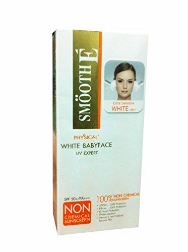 2 paquetes de suave E físico blanco Babyface Uv Expert, 100% no químicos blanco Babyface protector solar Spf 50 + pa +++. Piel blanca extra sensible (15 G/Pack).