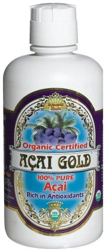 Salud dinámica oro Acai 100% orgánico certificado Acai jugo puro, botella de 32 onzas