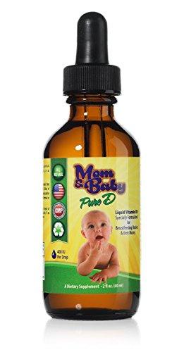 Mamá y bebé pura vitamina-D - mejor Vit D Supplement líquido - perfecto potencia Natural vitamina D para bebés lactancia materna - 400 UI vitamina D3 por gota - mejor absorción para toda la familia - botella de 2 oz