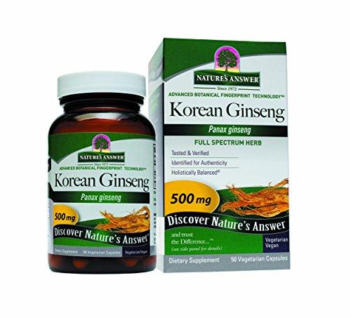 Respuesta Ginseng coreano raíz vegetariana de la naturaleza cápsulas, 50-cuenta