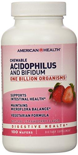De la salud Acidophilus y Bifidum masticable fresa 100 obleas
