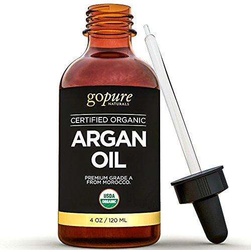 Aceite orgánico de argán - 4 onzas - 100% puro y certificado orgánica aceite de argán para el pelo, piel y uñas - prensados en frío - Triple purificada