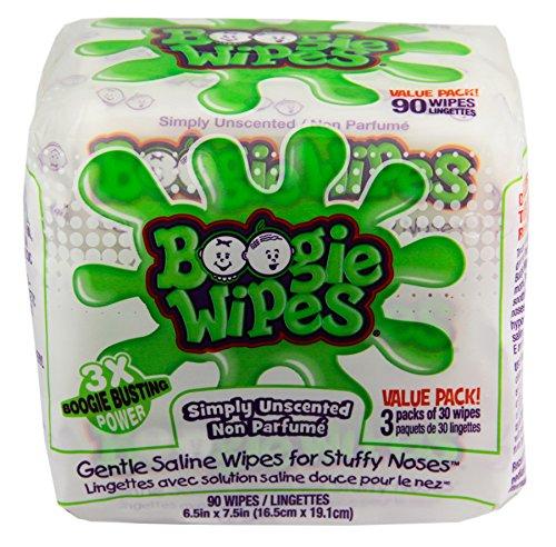 Boogie toallitas Natural salina niños y nariz de toallitas para el resfriado y la gripe, sin perfume, cuenta 90
