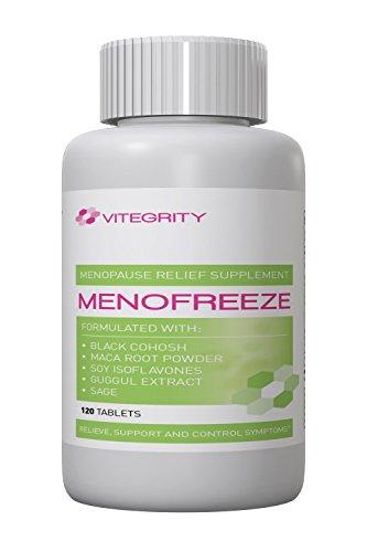 MenoFreeze - proporciona un alivio potente de síntoma menopáusico para bochornos, irritabilidad, ansiedad, aumento de peso y cambios de humor - apoya equilibrio emocional * - fórmula Natural todos - Cohosh negro, raíz de Maca en polvo, isoflavonas de soja