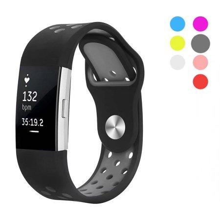 Kutop 2 Fitbit banda de carga, deporte de la correa de silicona suave ajustable de la manera de Fitbit cargo2 reemplazo de accesorios de fitness Muñequera con el agujero gris