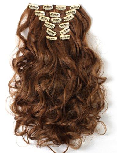 "OneDor 20"" cabeza completo rizado Clip en extensiones de cabello sintético 7pcs 130g (# 27-Strawberry Blonde)"