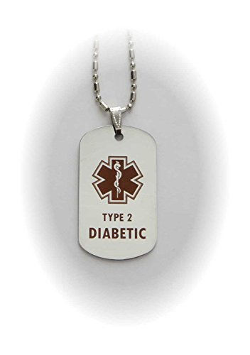 Tipo 2 Diabetes diabético etiqueta de alerta médica colgante en oro o plata (plata)