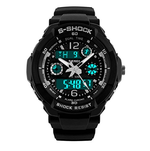 Fanmis Unisex Sport reloj multifunción verde Led luz Digital impermeable S - Shock reloj de pulsera (negro)