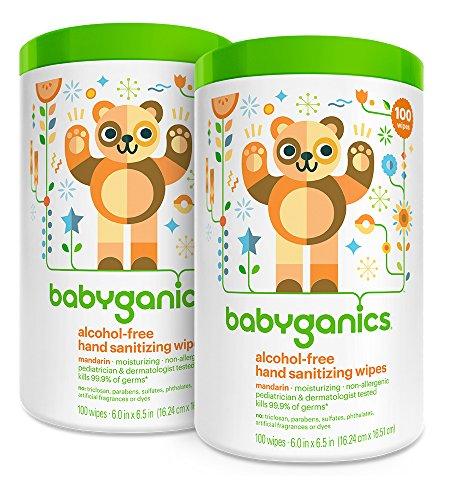 Babyganics Alcohol gratis toallitas desinfectante, mandarina, frasco de 100 Count (paquete de 2)