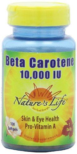 La vida Beta caroteno de la naturaleza 10,000 UI, 100 cápsulas, (paquete de 2)