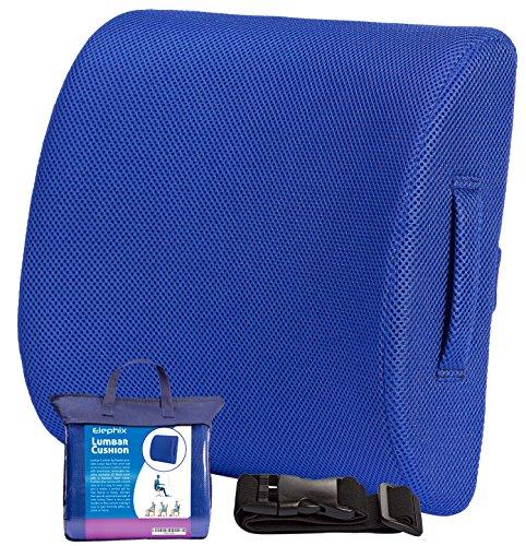 El amortiguador del respaldo Lumbar, contorno almohada de espuma de memoria para silla o coche | Corrige postura y facilita dolor lumbar | Incluye asa de transporte, estuche de viaje y extensión elástica