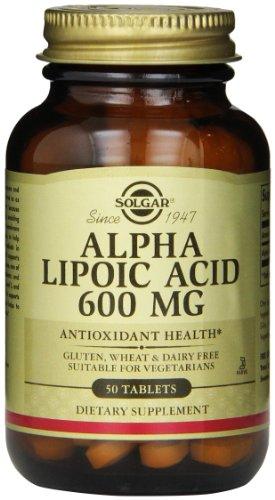 Solgar, ácido alfa lipoico, 600 mg, 50 tabletas